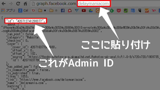 Admin IDが表示