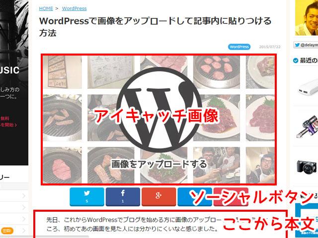 WordPressでアイキャッチ画像を表示させた状態