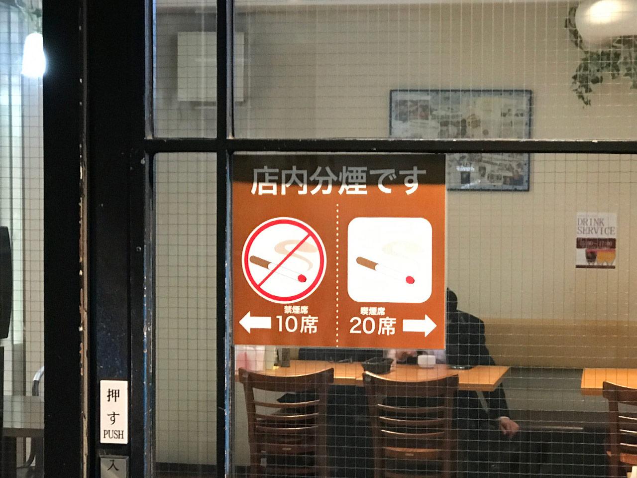 武蔵小山「くいしんぼ」の分煙表示