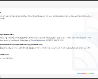 いままでありがとう!Google Readerが完全にサービス終了しました!