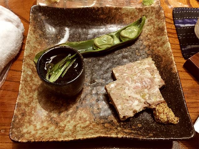 渋谷かつ吉の前菜三点盛り