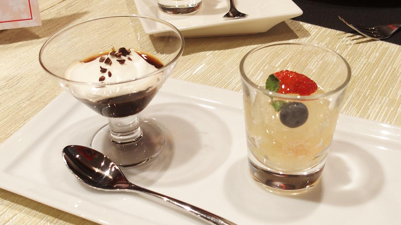 ラ・ロシェル山王の鹿児島フェアのコーヒーゼリーと果物のゼリー