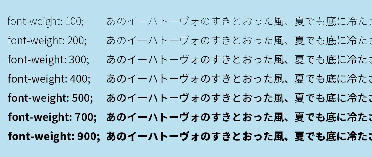 Noto Sans Japaneseのフォントの太さ比較