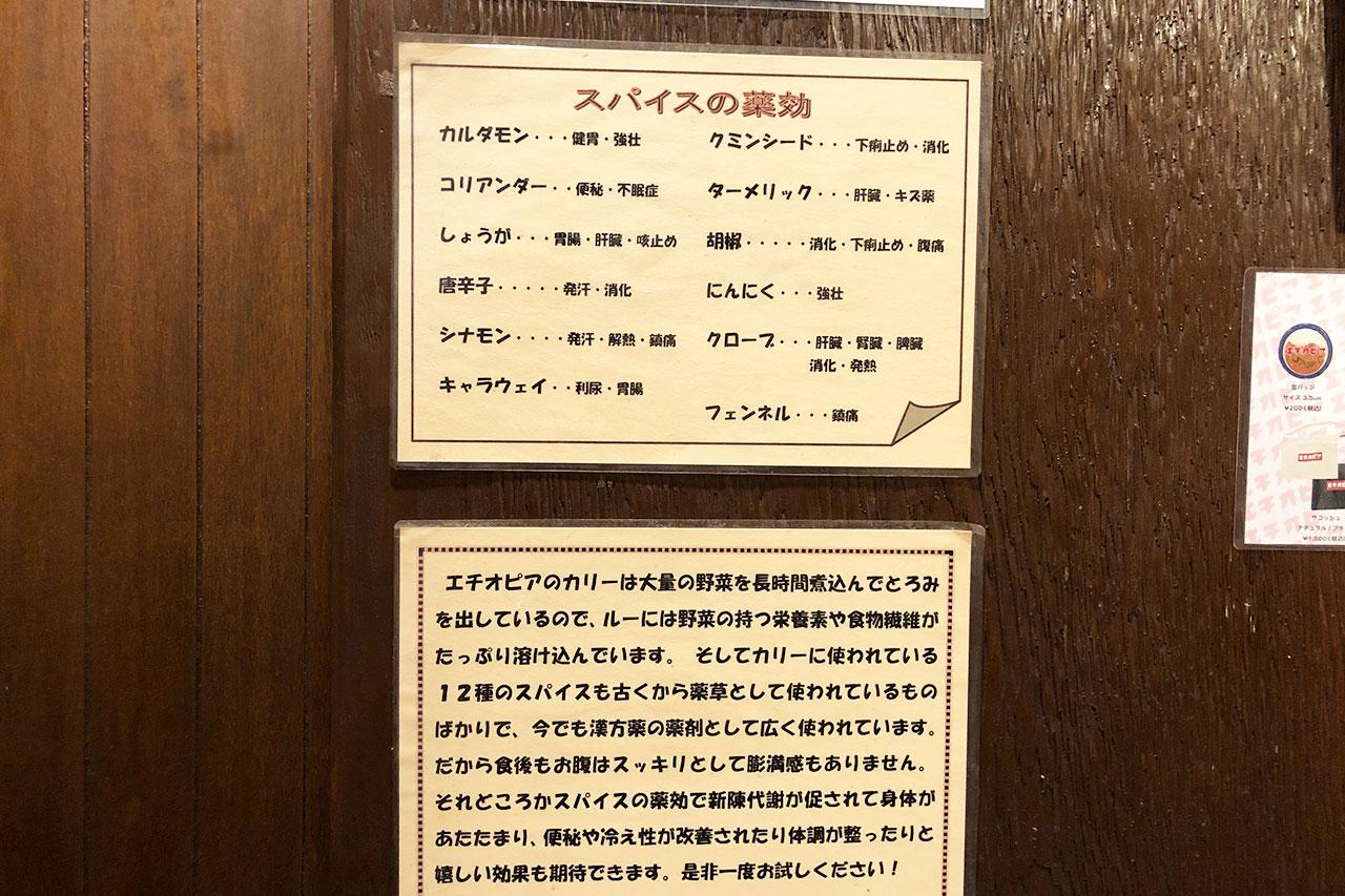 神保町「エチオピア」の壁に書かれたスパイスやカレーの説明
