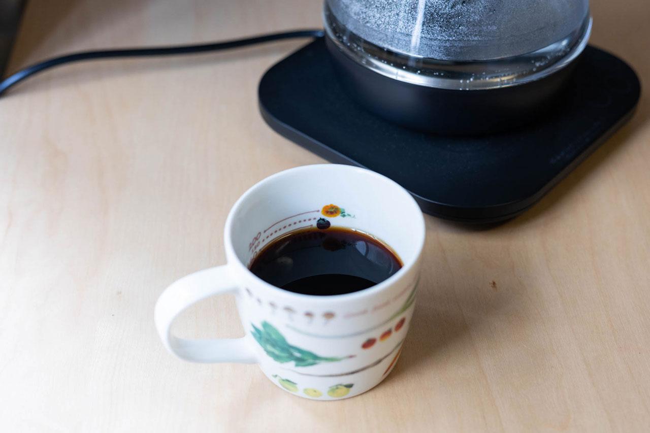 ウォータークッカースマートホームで沸かしたお湯で入れたコーヒー