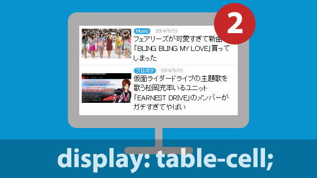 【CSS】table-cellを使って関連記事の表示で良く使うリストスタイルのデザインを作る方法